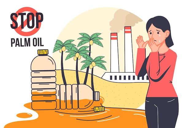 Ilustração da indústria produtora de óleo de palma desenhada à mão Vetor grátis
