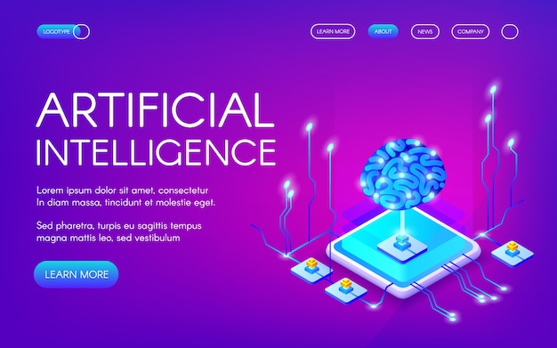 Ilustração da inteligência artificial do cérebro humano com o chipset digital dos neurônios. Vetor grátis