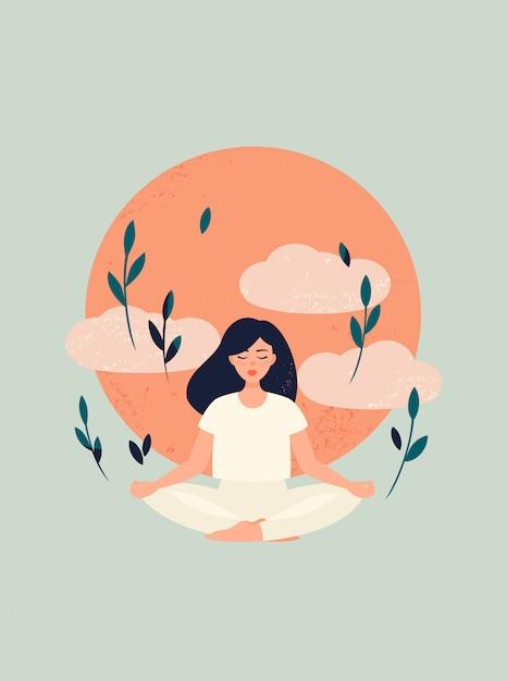 Ilustração da ioga menina meditação com sol e nuvens Vetor Premium