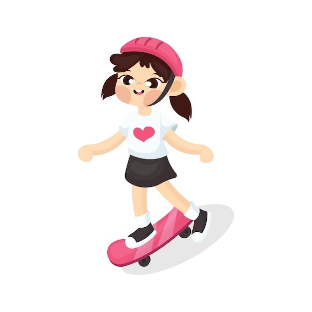 Ilustração da linda garota jogando skate com estilo cartoon Vetor Premium
