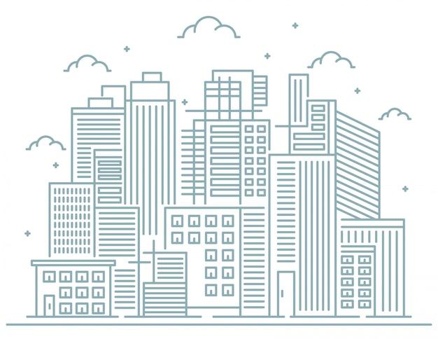 Ilustração da linha da cidade Vetor Premium