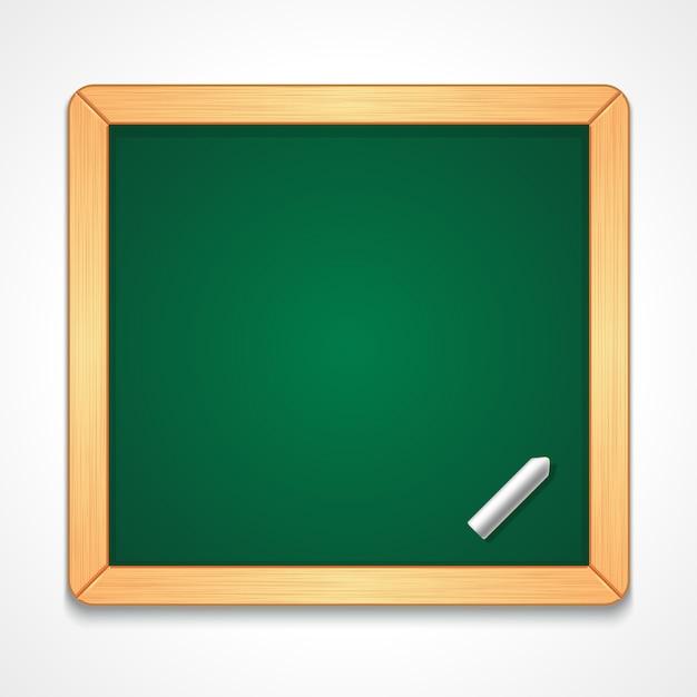 Ilustração da lousa verde vazia de forma retangular com moldura de madeira simples com pedaço de giz Vetor Premium