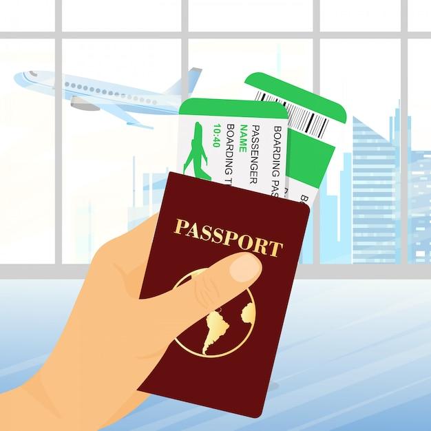 Ilustração da mão segurando o passaporte com bilhetes no fundo do aeroporto. conceito de viagens e turismo. Vetor Premium