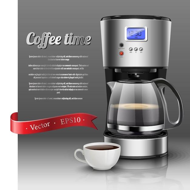Ilustração da máquina de café americano gotejamento com uma xícara de café. Vetor Premium