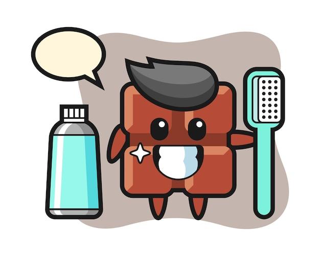 Ilustração da mascote da barra de chocolate com uma escova de dentes, estilo kawaii bonito. Vetor Premium