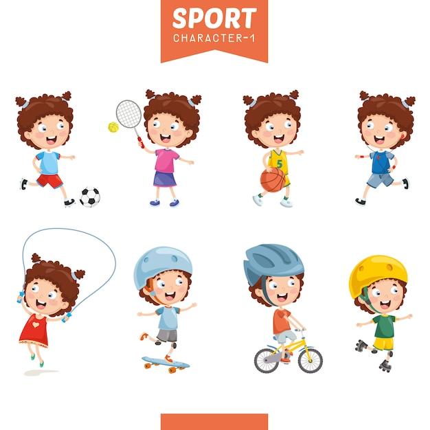 Ilustração da menina fazendo esporte Vetor Premium