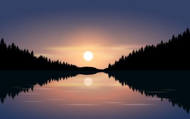 Ilustração da noite com luar e rio Vetor Premium