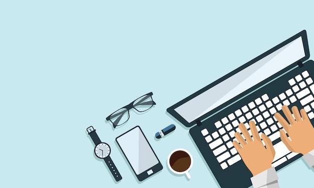 Ilustração da opinião superior do projeto liso do negócio de computador da tabela do espaço de trabalho do escritório. texto de espaço livre Vetor Premium