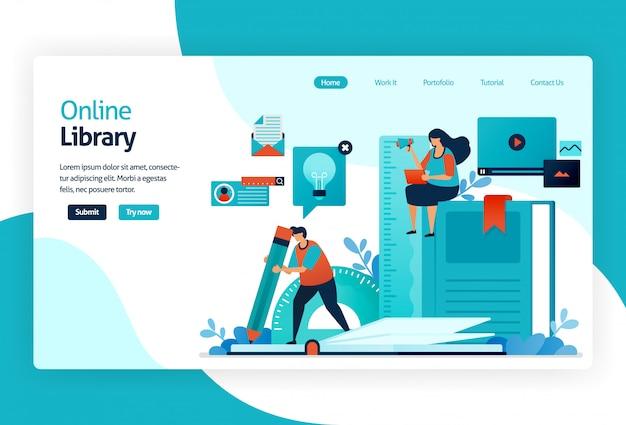 Ilustração da página de destino da biblioteca digital Vetor Premium