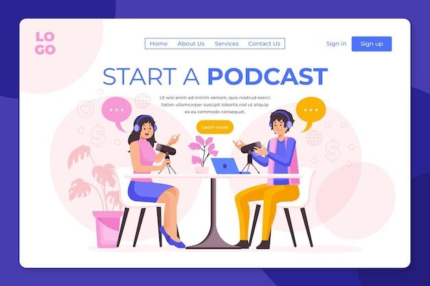 Ilustração da página de destino do podcast Vetor grátis