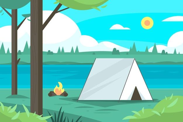 Ilustração da paisagem da área de acampamento Vetor grátis