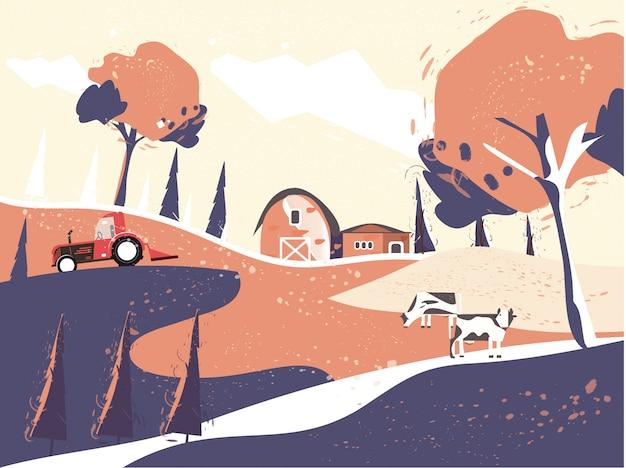 Ilustração da paisagem do campo no outono, casa de fazenda. Vetor Premium