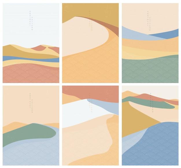 Ilustração da paisagem natural com vetor de estilo de onda japonesa. desenho geométrico Vetor Premium