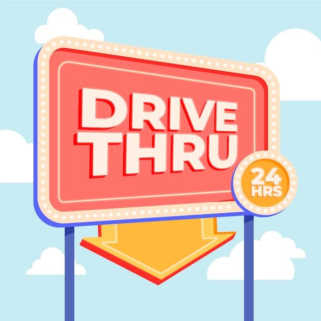 Ilustração da placa de drive thru Vetor grátis