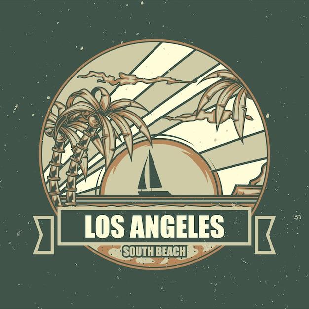 Ilustração da praia com palmeiras e pôr do sol Vetor grátis