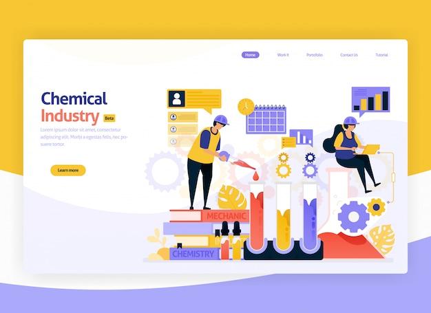 Ilustração da produção química industrial e fabricação de desenvolvimento Vetor Premium