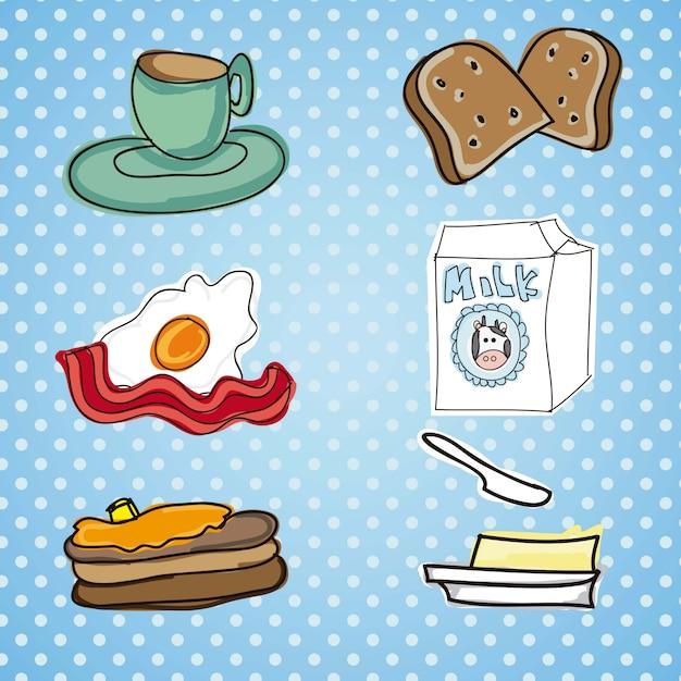 Ilustração da refeição do café da manhã com breadbuttereggmi lk e bacon Vetor Premium