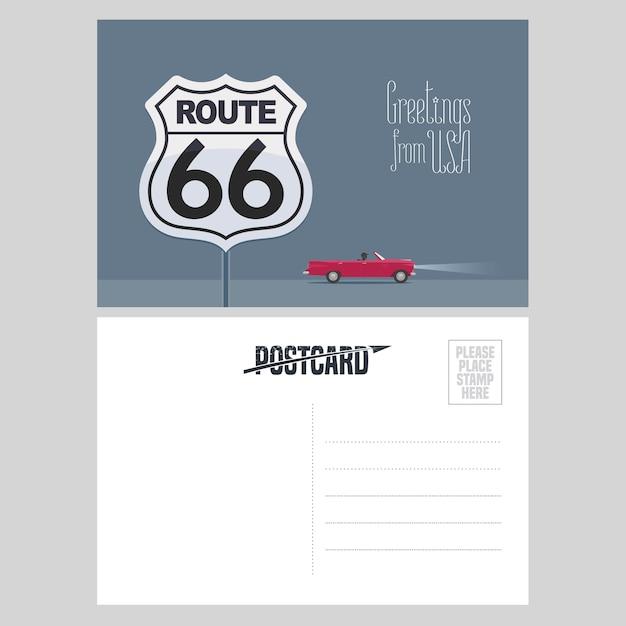 Ilustração da rota 66 americana. elemento para cartão de correio aéreo enviado dos eua para conceito de viagem para a américa com a famosa rodovia Vetor Premium