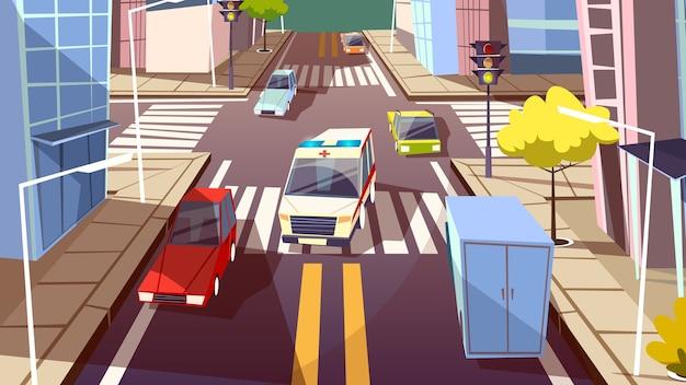 Ilustração da rua da cidade e do carro de ambulância. estrada de tráfego urbano dos desenhos animados Vetor grátis