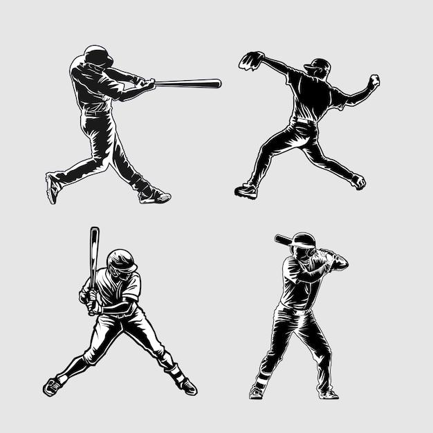 Ilustração da silhueta do beisebol Vetor Premium