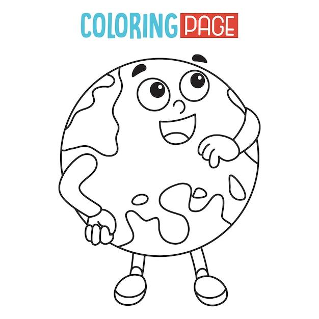 Ilustracao Da Terra Pagina Para Colorir Vetor Premium