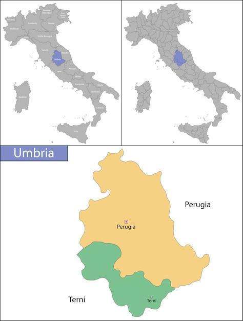 Ilustração da umbria é uma região no centro da itália Vetor Premium