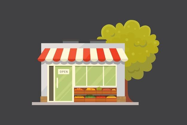Ilustração da vista frontal do edifício da loja da loja. Vetor Premium