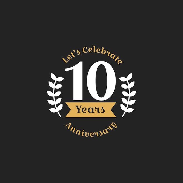 Ilustração, de, 10th, aniversário, selo, bandeira Vetor grátis