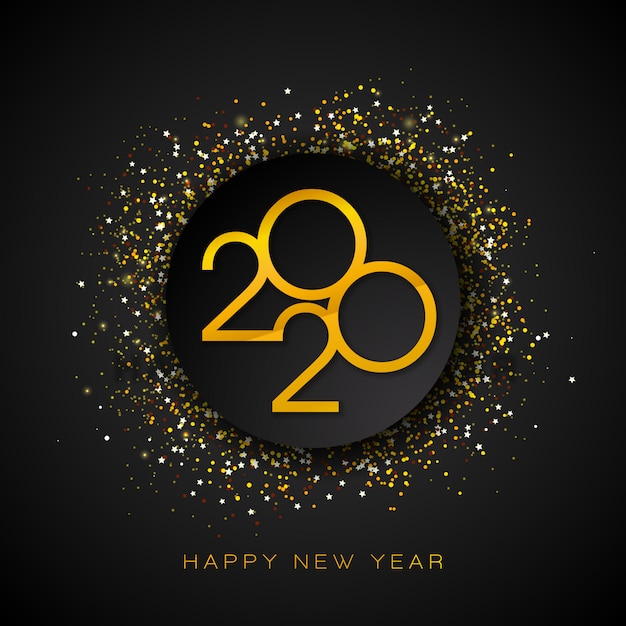 Ilustração de 2020 feliz ano novo com número de ouro e confetes caindo sobre fundo preto. Vetor grátis