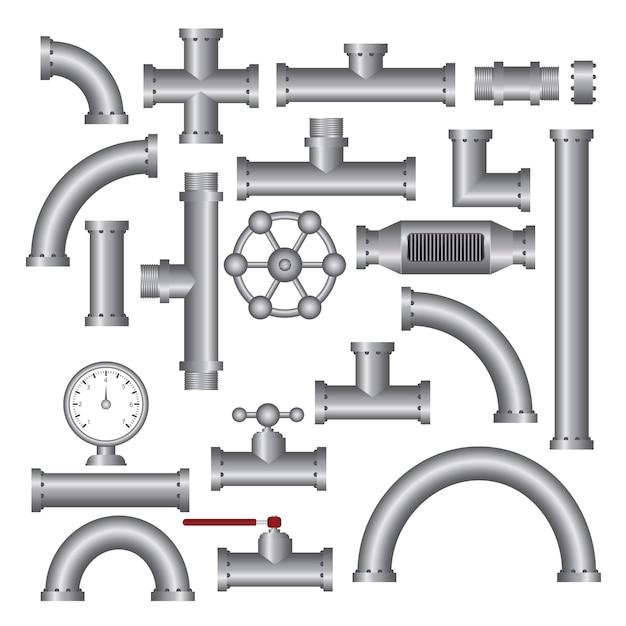 Ilustração de acessórios para tubos de aço isolada no branco Vetor Premium