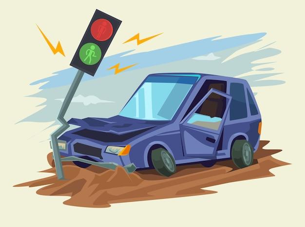 Ilustração de acidente de viação acidente de carro Vetor Premium