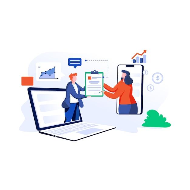Ilustração de acordo on-line em estilo simples Vetor Premium