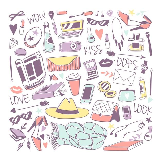 Ilustração de adesivos de ícones da moda de meninas. Vetor Premium