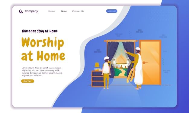 Ilustração de adoração muçulmana em casa da família na página inicial Vetor Premium