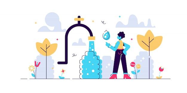 Ilustração de água potável. conceito de pessoa plana problema potável pequena áfrica. falta de líquido líquido saudável e seguro em sobremesa quente e seca. necessidade essencial de h2o fresco, limpo e claro. Vetor Premium