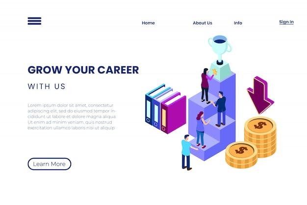 Ilustração de alcançar uma carreira em um ambiente corporativo, o processo de trabalho em equipe para alcançar o sucesso no estilo de ilustração 3d isométrica Vetor Premium
