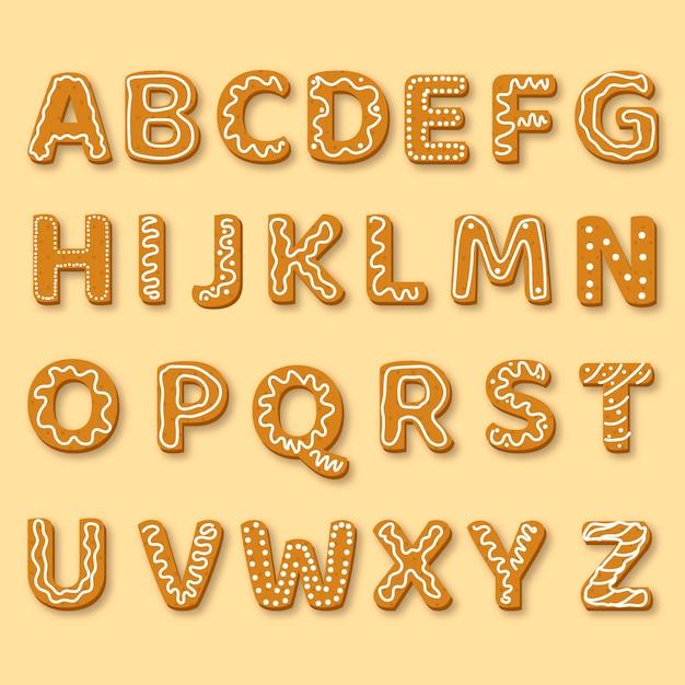 Ilustração de alfabeto de natal de gengibre Vetor grátis