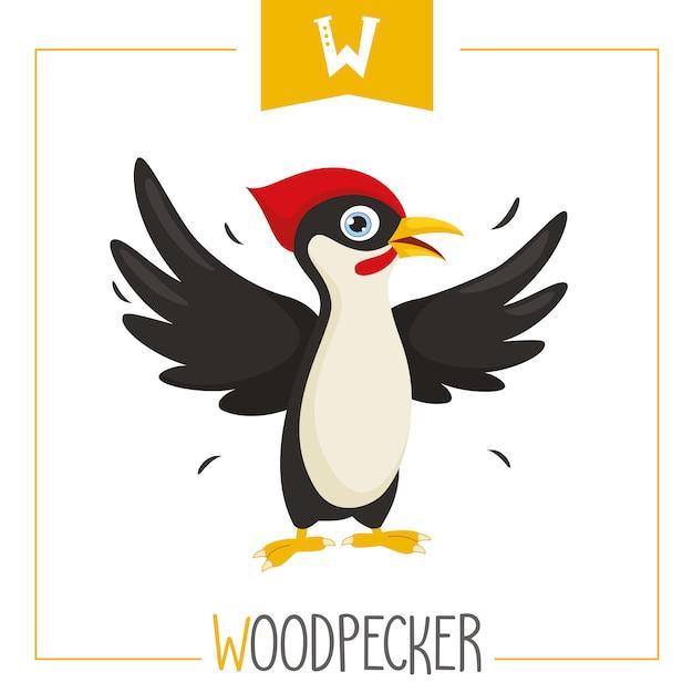 Ilustração de alfabeto letra w e pica-pau Vetor Premium
