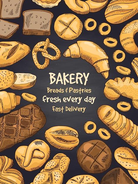Ilustração de alimentos da padaria no quadro preto. cartaz ou modelo do menu de design Vetor Premium