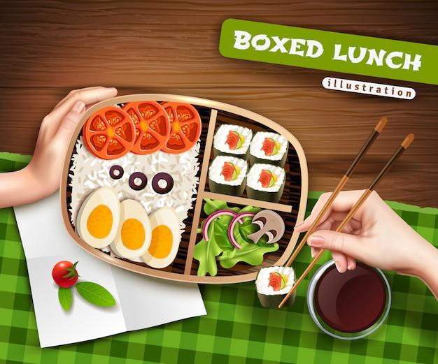 Ilustração de almoço em caixa Vetor grátis