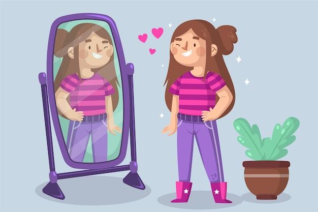 Ilustração de alta autoestima com espelho e mulher Vetor grátis
