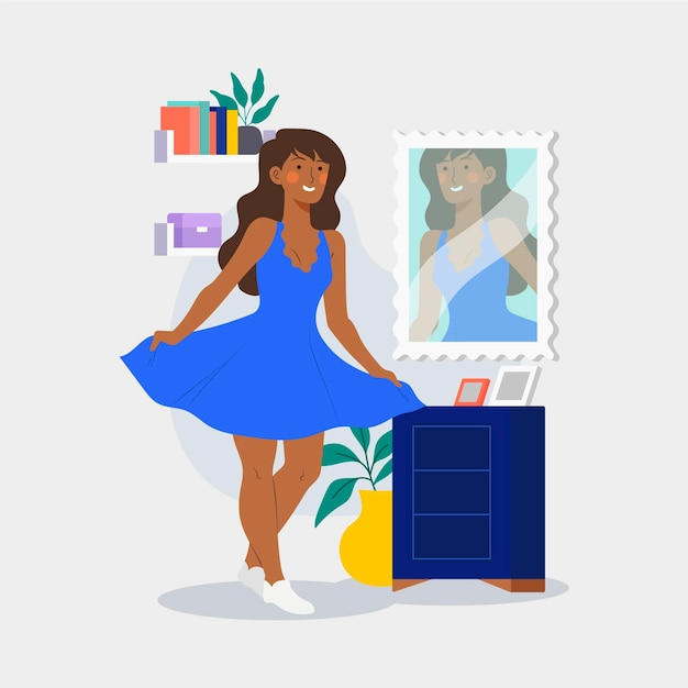 Ilustração de alta autoestima com mulher e espelho Vetor grátis