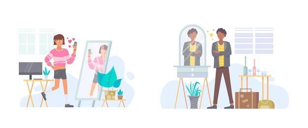 Ilustração de alta autoestima Vetor Premium