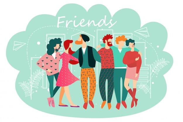 Ilustração, de, amigos, caricatura, pessoas, ficar, junto Vetor Premium
