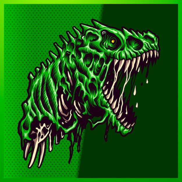 Ilustração de angry zombie green raptor com uma boca grande, dentes abertos e afiados sobre o fundo verde. ilustração desenhados à mão para o logotipo do esporte mascote Vetor Premium