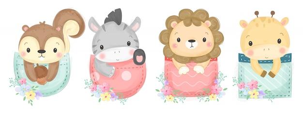 Ilustração de animais fofos em aquarela Vetor Premium
