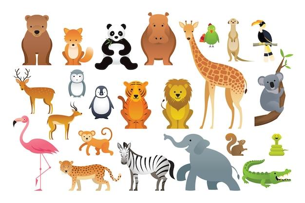 Ilustração de animais selvagens desenhada à mão Vetor Premium