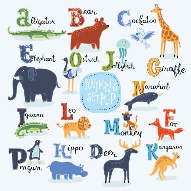 Ilustração de animais sorridentes do alfabeto fofo dos desenhos animados de a a h com nomes em inglês Vetor Premium