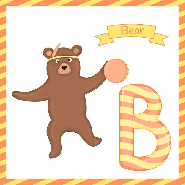 Ilustração de animal isolado alfabeto b com urso dos desenhos animados Vetor Premium