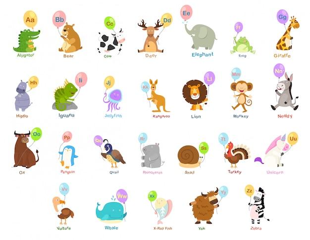Ilustração, de, animal, letra alfabeto, az Vetor Premium